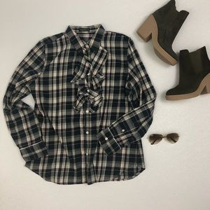 LRL Lauren Jeans Co. Ruffled Plaid Flannel Shirt